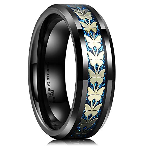 King Will Classic Mens 8mm Tungsten Carbide Ring Black Inlay with Blue Sand & Steel Butterflies Wedding Band -