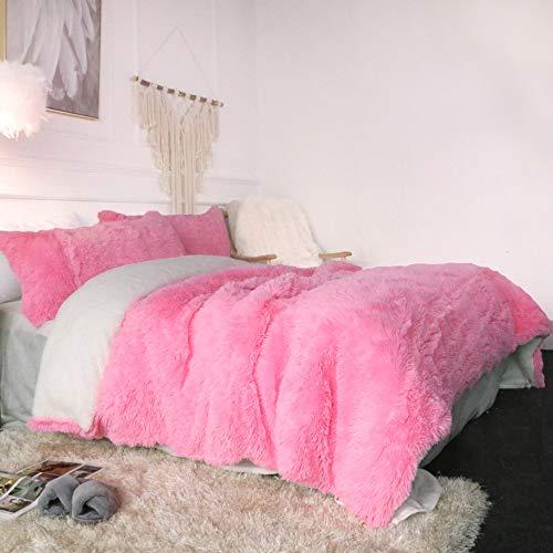 Sleepwish Luxury Plush Shaggy Bedding - 3 Pieces - 1 Faux Fur Duvet Cover and 2 Pillow Sham - Long Shaggy Hair, Sherpa Fleece, Reversible Comforter Cover Set - Pink -King (Faux Fur Shams)