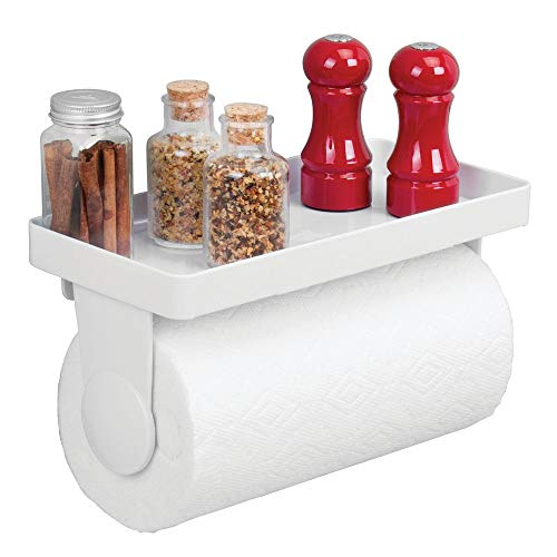 mDesign Wall Mount Plastic Paper Towel Roll Holder and Dispenser with Shelf - Storage and Organization for Spice Bottles, Glass Jars, Salt, Pepper - for Kitchen, Utility/Laundry Room, Garage - White