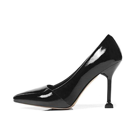 Haute Pointu Fête Robe Grand Doigt Cheville EUR42UK85 Pompes Pied Taille Noir de Tribunal Stylet Chaussures BLACK Talons NVXIE Femmes 45 35 Mode xq6zwOnaXI