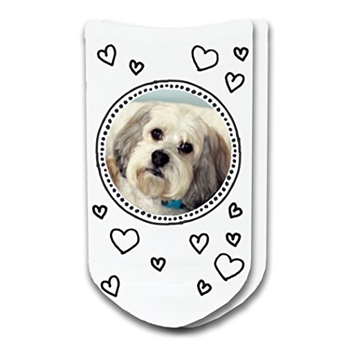 Pet Photo Socks Circle with Hearts Design - Print Your Pet on Ladies No-Show -
