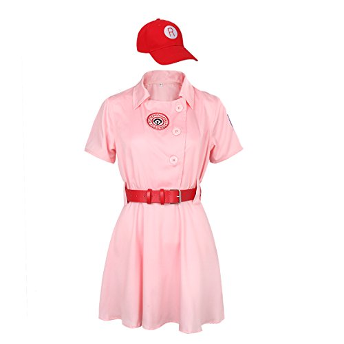 [Women Peaches Dottie Baseball Costume Dress Girls Sports Outfit With Hat & Belt (Large)] (Plus Size Baseball Girl Costume)