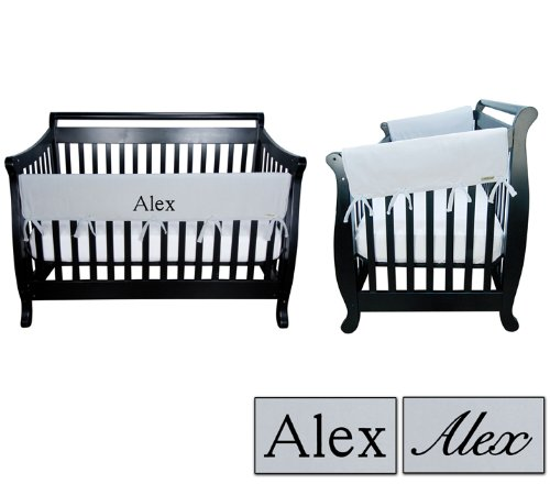 Personalized Embroidered 3pc Trend Lab Crib Wrap Rail Guard Set, Gray ()