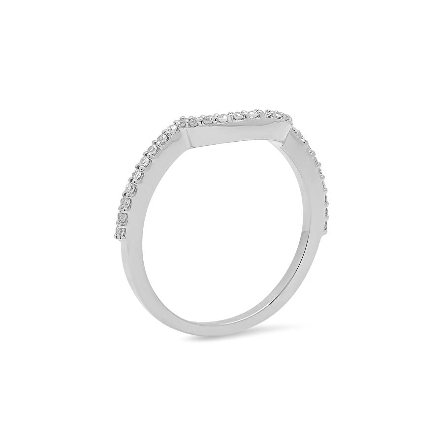 Dazzlingrock Collection 0.15 Carat (ctw) 18K Gold Round Diamond Ladies Anniversary Wedding Stackable Band Contour Guard Ring