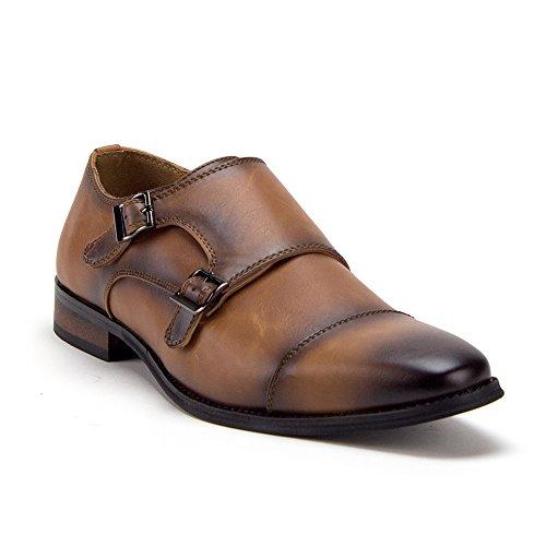 Men's D-491 Distressed Double Monk Strap Casual Loafers Dress Shoes, Cognac, 7.5