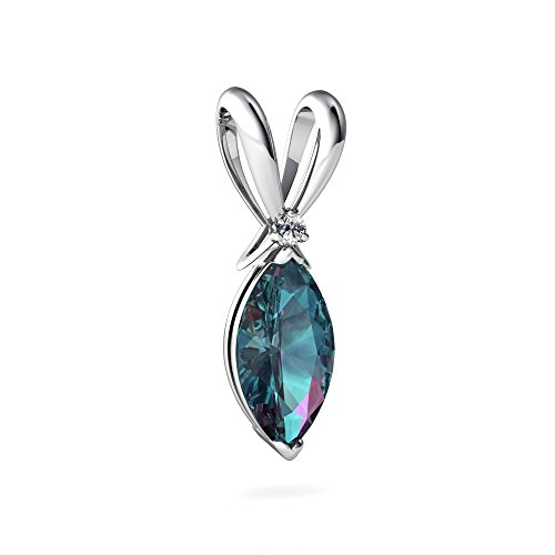 - 14kt White Gold Lab Alexandrite and Diamond 10x5mm Marquise Marquise Pendant