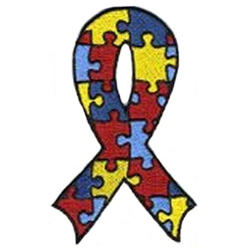Autism Awareness Ribbon Puzzle Piece Embroidered Iron On Patch-1 (Autism Awareness Puzzle Ribbon)