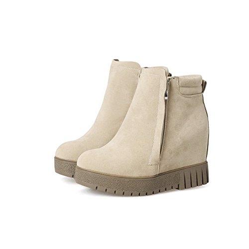 BalaMasa Womens Fashion Platform Slip-Resistant Wedges Suede Boots ABL10187 Beige 8DrftiLYu