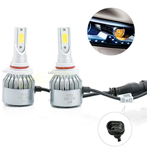 DEAL 2pcs 9005/HB3 6000K White 7200LM Aluminum Housing LED COB Bulbs Conversion Kit For Headlights High Low Beam Driving Fog Light DC 12V/24V IP67 Waterproof Pack of 2 Left+Right Replacement