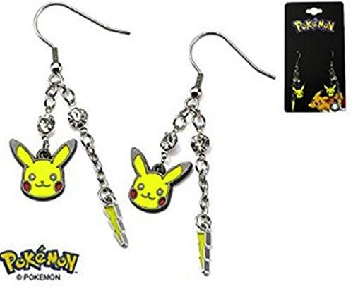 Pokemon Pikachu Lightning Bolt Stainless Steel Dangle Earrings
