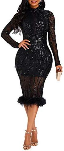 VERWIN Sequins Patchwork Bodycon Dress Women`s Long Sleeve Dress Elegant Dress Plume Maxi Dress Party Dress