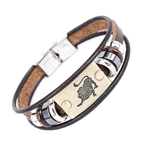 Aworth Fashion 12 Constellations Zodiac Signs Beaded Charm Bracelet with Stainless Steel Clasp Leather Bracelet for Men Women,Lion