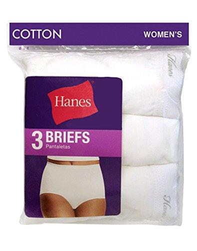 (Hanes Women's Cotton Briefs 3 Pack, 12-White)