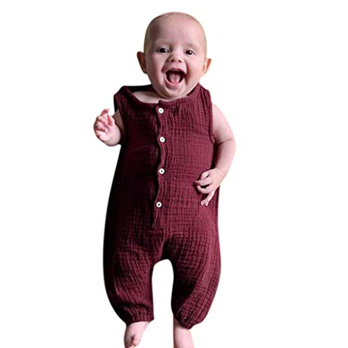 Price comparison product image RoDeke Summer New Baby Girl's Sleeveless Solid Color Button Pleated Vest Jumpsuit Suit Wine