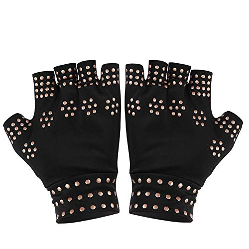 Anti-slip Pressure Gloves Half-finger Gloves Finger Protect Gloves Fingerless Sports Fit Glove for Rheumatoid, Osteoarthritis, Carpal Tunnel, Computer Typing and Everyday Support for Hands