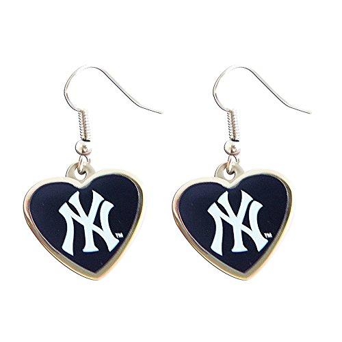 aminco New York Yankees MLB Sports Team Logo Heart Shape French Hook Style Charm Dangle Earring Set