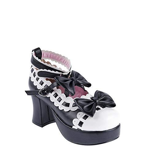 Encaje Zapatos Solo Pingxiannv Alto Tacón Arco Dulce Lolita Princesa De Y1WqWP