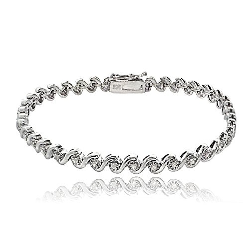 Sterling Silver 0.50ct TDW Diamond Miracle Set S Design Tennis Bracelet by Jawa Fashion
