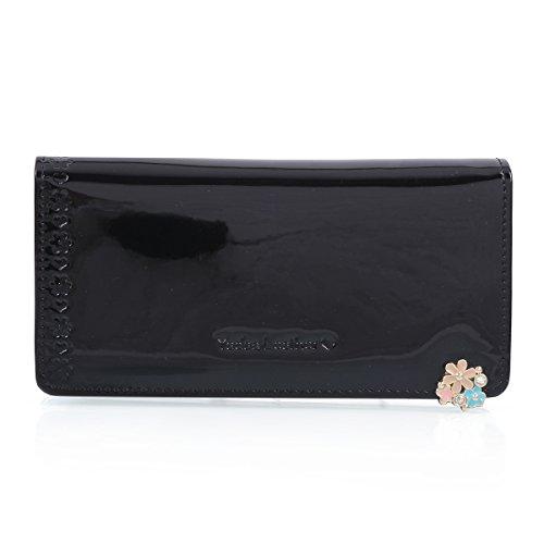 Damara Womens New Type Jeweled Patent Leather Billfold Wallet,Black