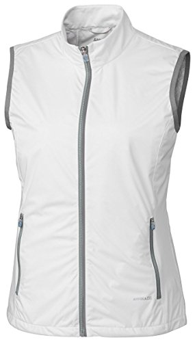 (ANNIKA by Cutter & Buck Women's Water and Wind Resistant Packable Reflective Rain Delay Vest, White, Small)