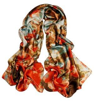 S Cloth Women Girl Lady Fashion Satin Oil Painting Long Oblong Silk Sarf Wrap Shawl Beach Silk Scarf