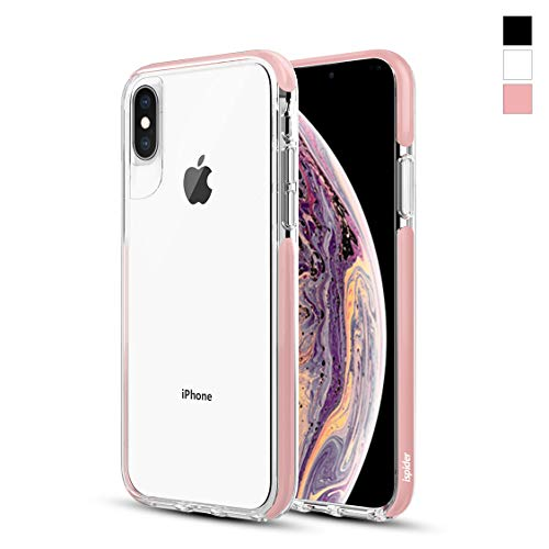 Ispider Crystal Clear Case Designed for iPhone Xs Max, [3 Meters Anti-Fall] Premium Protective, Thin Slim Cover, Hard PC Back and Dual-Layer Reinforced TPU Bumper Case for iPhone Xs Max - Pink