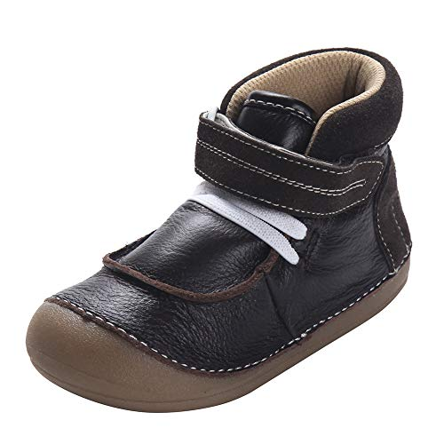 D.LIN Toddler Boots for Boys, 100% Soft Genuine Leather Baby Boy Shoes