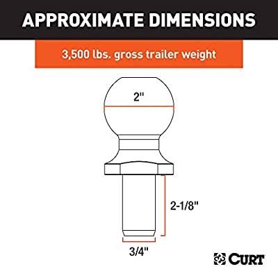 CURT 40065 Chrome Trailer Hitch Ball, 3,500 lbs., 2-Inch Diameter Tow Ball with 3/4-Inch x 2-1/8-Inch Shank: Automotive