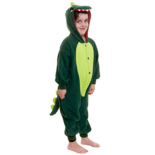 Silver Lilly Kids Dinosaur Animal Costume - Children Plush One Piece Pajamas (5T - 8 Youth)
