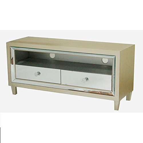 2 Drawer Cherry Bench - Heather Ann Creations The Avery Collection Modern Style Wooden Mirrored 2 Drawer Living Room TV Stand, Cherry