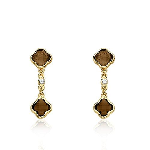 Riccova Arctic Mist 14k Gold-Plated Brown Briolet Clover Chain Brown Briolet Clover Earring