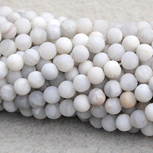 Tacool Natural White Crazy Lace Agate Matte 8mm Gemstone Beads Round for DIY Necklace Jewelry Making Beads (Crazy Lace Agate Gemstone)