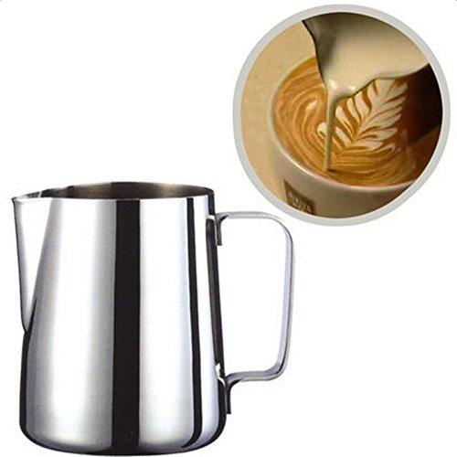 Hosaire Stainless Steel Creamer for Cappuccino with Your Coffee Machine for Making Milk Froth 150ml silver