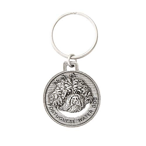 Portuguese Water Dog Pewter Key Chain, Key Fob, Key Ring, Gift, D146KC