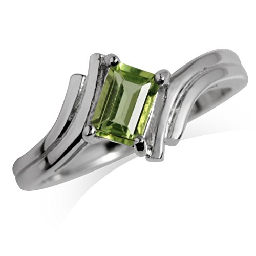 Natural Peridot White Gold Plated 925 Sterling Silver Bypass Solitaire Ring Size 6