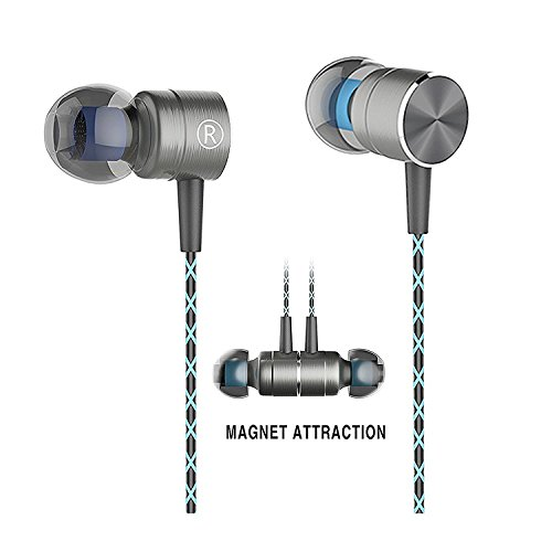 In-Ear Earbuds, Magnet Attraction Sport Headphones Headset with Stereo Bass Noise Isolating Earphones (Gray)