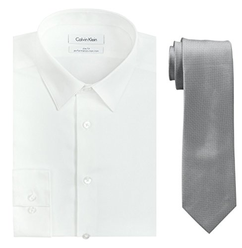 Calvin Klein Men's Slim Fit Herringbone Dress Shirt and Silver Spun Tie Combo, White/Silver, 17.5