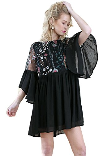 - Umgee Women's Floral Embroidered Lace Keyhole Angel Sleeve Dress (XL, Black)