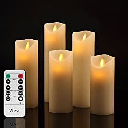 "Vinkor Flameless Candles Flickering Flameless Candles Set Decorative Flameless Candles: 4"" 5"" 6"" 7"" 8"" Classic Real Wax Pillar With Moving Led Flame & 10-key Remote Control 2468 Hours Timer"