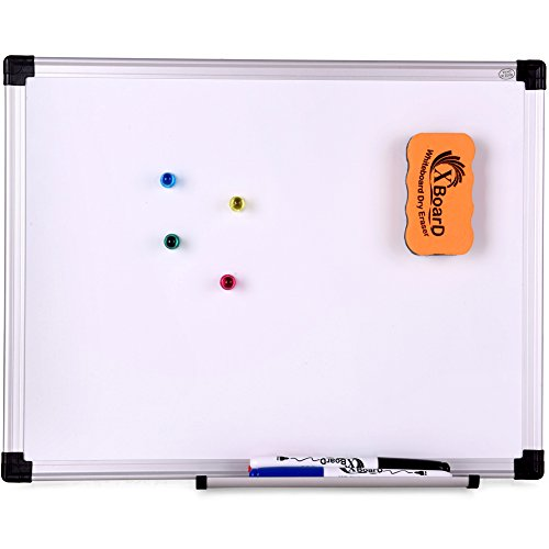 XBoard Double-Sided Magnetic Whiteboard Set, 15 x 12-Inch, Dry Erase Board with 1 Magnetic Dry Eraser, 3 Dry Erase Markers and 4 Push Pin Magnets (Dry Erase Board 12 X 18)