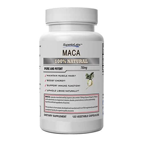 Superior Labs Organic Peruvian Maca 100% Pure NonGMO - Zero Synthetic Additives, Stearates, Dioxides - Powerful Formula for Healthy Energy, Mood, Sleep and Stress - 750mg, 120 Vegetable Capsules
