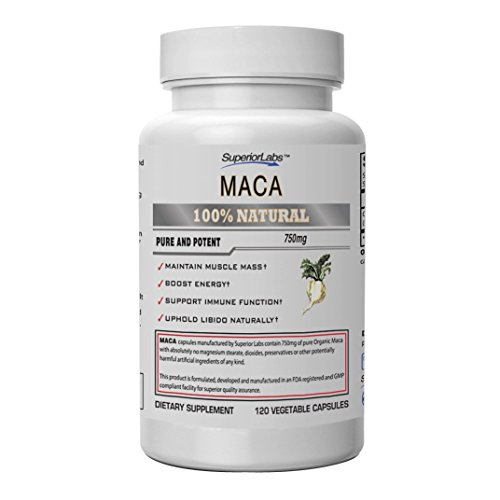 Superior Labs Organic Peruvian Maca 100% Pure NonGMO – Zero Synthetic Additives, Stearates, Dioxides – Powerful Formula for Healthy Energy, Mood, Sleep and Stress – 750mg, 120 Vegetable Capsules Review