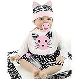 NPKDOLLs Reborn Baby Doll Soft Silicone 22inch 55cm Magnetic Lovely Lifelike Cute Lovely Cat Bib Little Baby Boy Girl Toy
