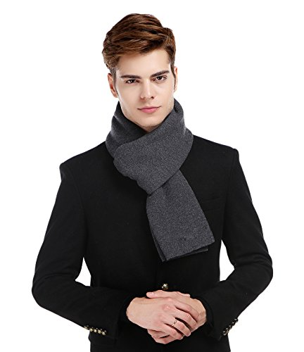 RIONA Men's 100% Australian Merino Wool Scarf Knitted Soft Warm Neckwear with Gift (Mens Wool Scarves)