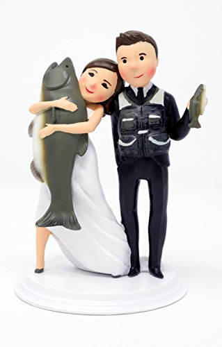 (Cake Top Stop Unique and Funny Fishing Wedding Cake Toppers Bride and Groom (Light Skin Dark)