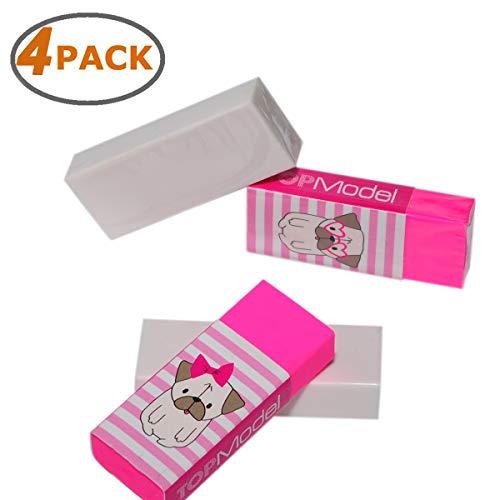 (Wekoil Soft Plastic Vinyl Eraser Color Assorted Block Eraser Latex Free Pencil Eraser for Drawing, Sketch, Writing,White-Pink Erasers Set,4 Pack)