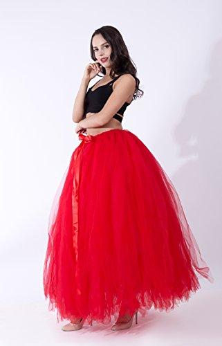 FOLOBE Mujeres Puffy Tutu Tulle Falda 100CM/39.4in Rojo