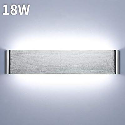 Lightess 18W 40CM Apliques de Pared LED Interior Lámpara de Pared Moderna Luz de Aluminio Acrílico Iluminación para Pasillo Salón Sala de Estar Dormitorio Escalera (blanco frío, plata): Amazon.es: Iluminación