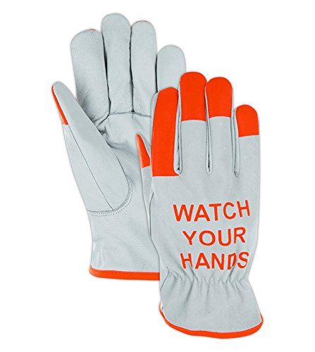 Cut Resistant Hi-Viz Leather Driver Gloves | Cut Level A5 Work Gloves for Metal Handling, Construction, Agriculture, Materials Handling & Maintenance (1244HV-M) - White/Orange, Size Medium (1 Pair)