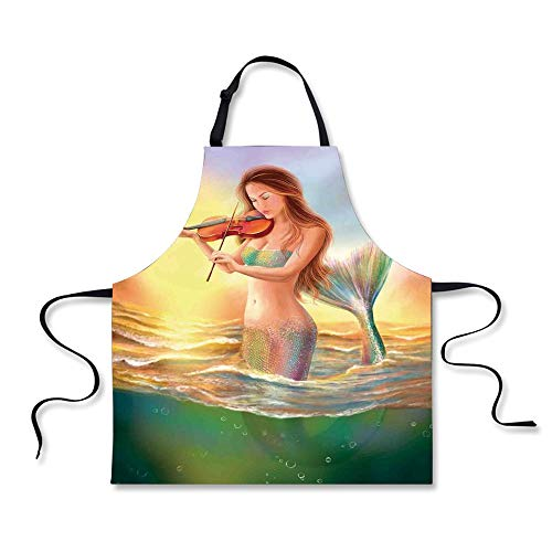 iPrint BBQ Apron,Mermaid,Mermaid Playing Violin at Sunset View Colorful Realistic Design Soft Dreamlike,Multicolor, Apron.29.5